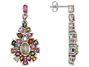 Multi Tourmaline Rhodium Over Sterling Silver Drop  Earrings 6.30ctw
