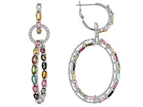 Multi Tourmaline Rhodium Over Sterling Silver Earrings 8.25ctw