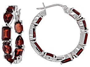 Garnet Rhodium Over Sterling Silver Hoop Earrings 8.75ctw