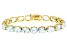 Blue Topaz 18K Yellow Gold Over Sterling Silver Line Bracelet  44.00 Ctw