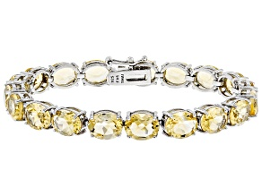 Citrine Rhodium Over Sterling Silver Line Bracelet 27.55ctw