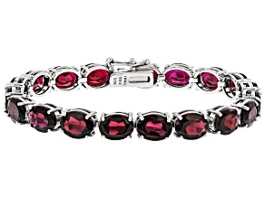 Red Garnet Rhodium Over Sterling Silver Line Bracelet 38.00ctw