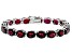 Red Garnet Rhodium Over Sterling Silver Line Bracelet 38.00ctw