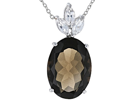Brown Smoky Quartz Sterling Silver Pendant With Chain 11 35ctw
