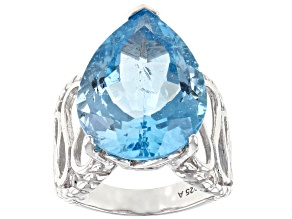 Blue Topaz Rhodium Over Sterling Silver Ring 16.00ct
