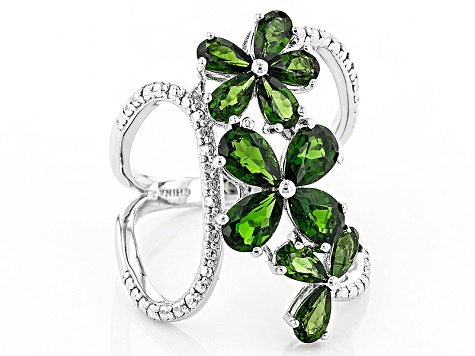 Green Chrome Diopside Sterling Silver Ring 3.60ctw