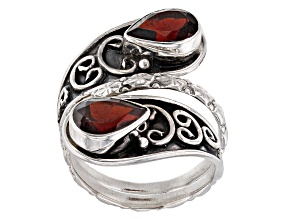 Red Garnet Sterling Silver Ring 3.00ctw