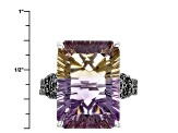 Bi-Color Ametrine Sterling Silver Ring 12.01ctw