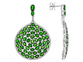 Green Chrome Diopside Sterling Silver Earrings 19.21ctw