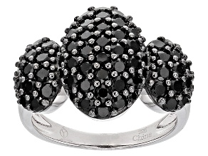 Black Spinel Sterling Silver Ring 2.80ctw