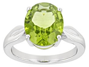Green Peridot Rhodium Over Sterling Silver Solitaire Ring 4.50ct