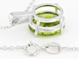 Green Peridot Sterling Silver Pendant With Chain 4.80ct