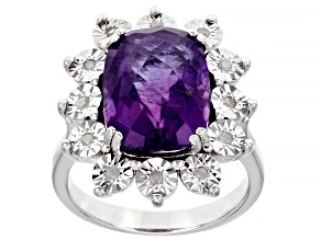 Purple Amethyst Sterling Silver Ring 6.45ctw