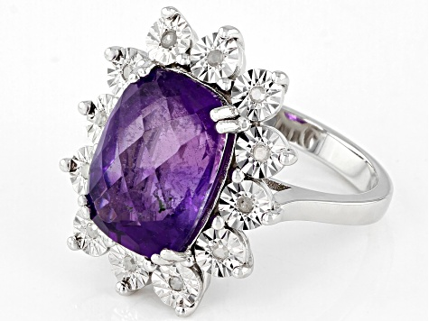 Purple Amethyst Rhodium Over Sterling Silver Ring 6.45ctw