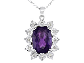 Purple Amethyst Rhodium Over Sterling Silver Pendant With Chain 5.55ctw