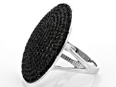Black Spinel Oval Sterling Silver Ring 2.33ctw