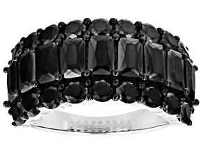 Black Spinel Sterling Silver Ring 5.10ctw