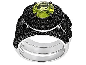 Green Peridot Sterling Silver Ring 4.33ctw