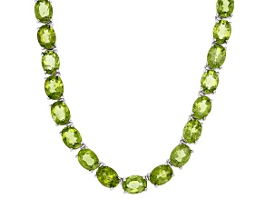 Green Peridot Rhodium Over Sterling Silver Necklace 38.40ctw