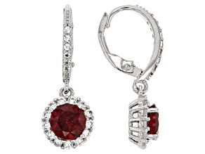 Garnet Sterling Silver Earrings 2.63ctw