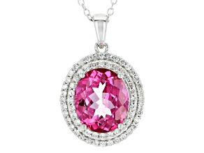 Pink Danburite Sterling Silver Pendant With Chain 5.69ctw