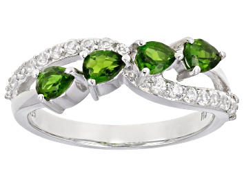 Picture of Green Chrome Diopside Rhodium Over Sterling Silver Ring 1.30ctw