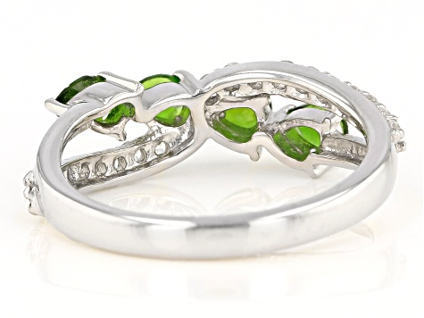 Green Chrome Diopside Rhodium Over Sterling Silver Ring 1.30ctw