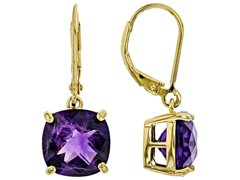 Purple Amethyst 18k Yellow Gold Over Sterling Silver Earrings 6.50ctw
