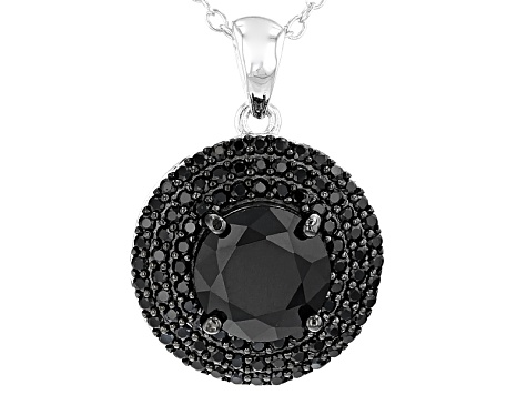 Black Spinel Sterling Silver Pendant 3.01ctw
