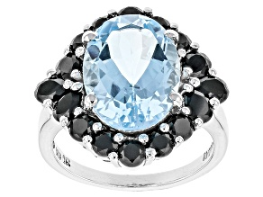 Blue Topaz Rhodium Over Sterling Silver Ring 9.70ctw