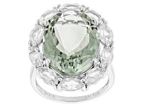Green Prasiolite Sterling Silver Ring 18.60ctw