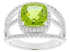 Green Peridot Sterling Silver Ring 3.55ctw