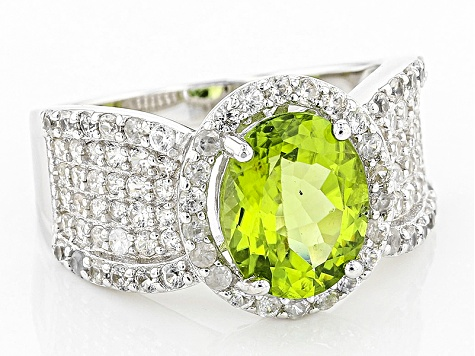 Green Peridot Sterling Silver Ring 4.63ctw