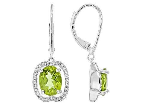 Green Peridot Sterling Silver Dangle Earrings 4.41ctw