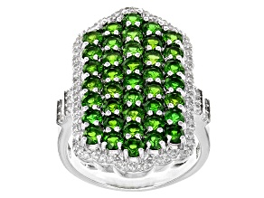 Green Russian Chrome Diopside Sterling Silver Ring 4.58ctw