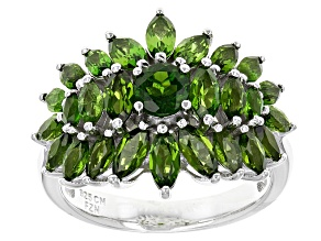 Green Russian Chrome Diopside Sterling Silver Ring 3.17ctw