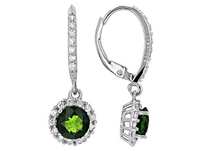 Green Russian Chrome Diopside Sterling Silver Dangle Earrings 2.80ctw