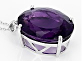 Purple Amethyst Sterling Silver Solitaire Pendant With Chain 30.00ct