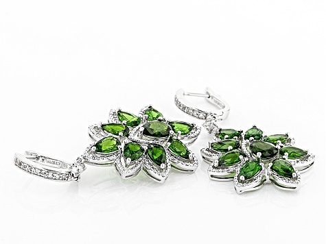 Green Russian Chrome Diopside Sterling Silver Dangle Earrings 9.64ctw