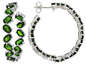 Green Russian Chrome Diopside Sterling Silver inside/Outside Hoop Earrings 16.56ctw