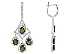 Green Russian Chrome Diopside Sterling Silver Chandelier Earrings. 6.18ctw