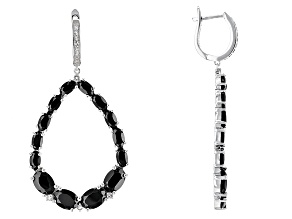 Black Spinel Sterling Silver Earrings 11.78ctw