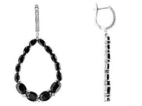 Black Spinel Sterling Silver Earrings 11.78ctw