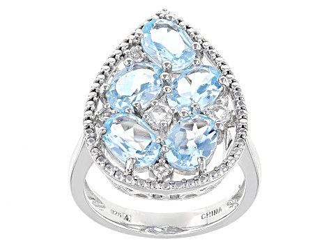 Blue Topaz Sterling Silver Ring 5.26ctw