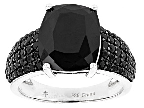 Black Spinel Sterling Silver Ring 9.91ctw