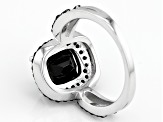 Black Spinel Sterling Silver Ring 5.63ctw