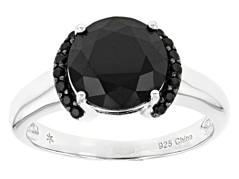 Black Spinel Sterling Silver Ring 3.60ctw