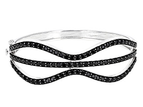 Black Spinel Sterling Silver Hinged Bangle Bracelet 8.41ctw