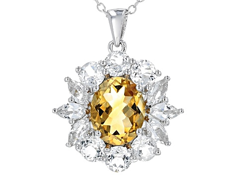 Yellow Brazilian Citrine Sterling Silver Pendant With Chain 5.36ctw