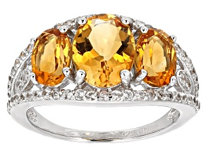 Yellow Brazilian Citrine Sterling Silver Ring 3.89ctw